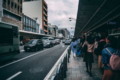 Traffic on Kyoto highway besides the shopping street royalty free stock image