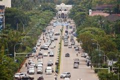 Traffic on Lane Xang avenue Royalty Free Stock Image