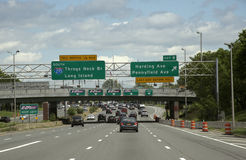 Traffic lanes approach toll booths Stock Photo