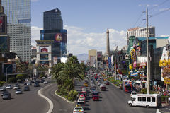 Traffic on Las Vegas Boulevard Royalty Free Stock Photos