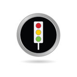 Traffic ligh icon in black vector Royalty Free Stock Images