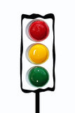 Traffic light. Abstract traffic light made by three paint buckets - green yellow and red Royalty Free Stock Photos