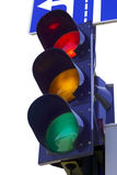 Traffic light. On a white background. Above the  road sign stock images