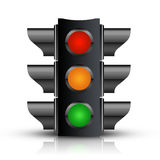 Traffic Light. With - Isolated on White vector illustration