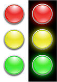 Traffic light. Isolated on white and black background Stock Images