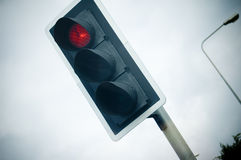 Traffic Light. A red traffic light. Captures the mood of the dull daily commute stock photos
