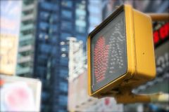 Traffic light. A red traffic light in the streets of new-york Royalty Free Stock Images