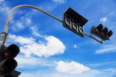 Traffic light. In the city on blue sky background Stock Photography