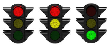 Traffic light. Three black traffic lights on a white background Stock Images