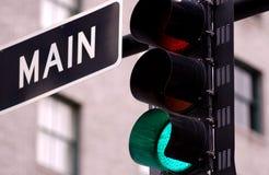 Traffic light. On main street of us city Royalty Free Stock Photos