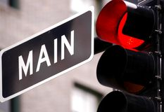 Traffic light. On main street of us city Royalty Free Stock Images