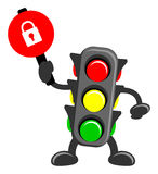 Traffic light. Illustration of cartoon traffic light bring traffic sign Stock Photo