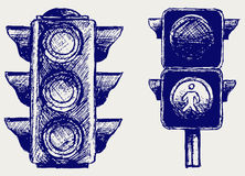 Traffic light. Doodle style. Vector Royalty Free Stock Photos