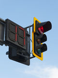 Traffic Light. With red light, that will be lit for 17 minutes more Stock Photo