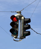 Traffic Light. Red color on the traffic light with a blue sky in background Royalty Free Stock Image