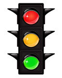 Traffic light. Black traffic light with reflections on a white background Royalty Free Stock Image