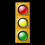 Traffic light. Vector illustration of Yellow traffic light on black Royalty Free Stock Photo
