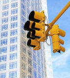 Traffic light. Yellow traffic light in the city Stock Photo