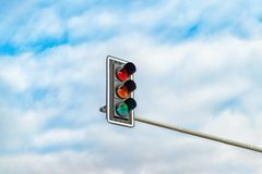 Traffic light against blue sky background with Clipping Path royalty free stock photos