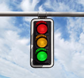 Traffic light against sky. Traffic light against blue sky background with Clipping Path Stock Photo