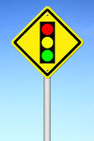 Traffic light ahead warning sign Royalty Free Stock Images