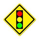 Traffic light ahead warning sign Stock Image