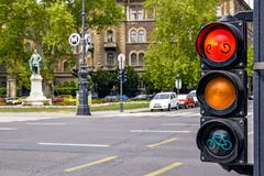 Traffic light on Andrássy Avenue - the main street of the Hungarian capital. Red light - traffic is stopped stock photos