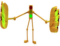 Traffic light with arms and legs. The green . 3D illustration Stock Images