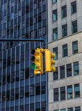 Traffic light in the background of skyscrapers. New York. USA stock image