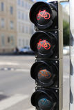 Traffic light for bicycles. Traffic light for cyclists of four sections Stock Image