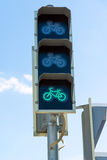 Traffic light for bicycles, green light Stock Photography