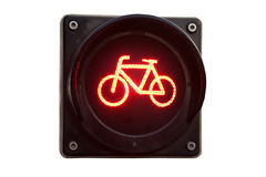 Traffic light for bicycles isolated on white Stock Photo