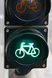 Traffic light for bicycles Stock Photos