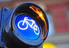 Traffic light with bike Royalty Free Stock Images