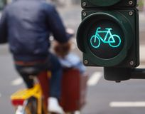 Traffic light bike sign Royalty Free Stock Images