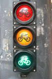 Traffic light with bike sign for cyclists close up Royalty Free Stock Photo