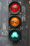 Traffic light with bike sign for cyclists close up. Red yellow green Royalty Free Stock Photo
