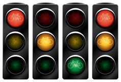 Traffic light for bikes. Royalty Free Stock Photo