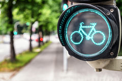 Traffic light for bikes Royalty Free Stock Image