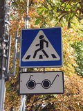 Traffic light for blind people over Royalty Free Stock Image