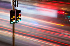 Traffic light. Blur motion on street royalty free stock image