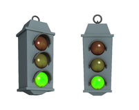 Traffic light with a burning green signal. 3d traffic light with a burning green signal Stock Image