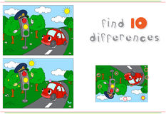 Traffic light and car on the road. Educational game for kids: fi Stock Photos