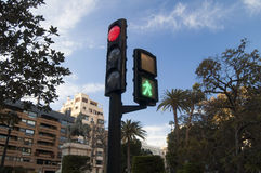 A traffic light. Traffic light in the center of the city Stock Photos