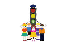 Traffic light and children Stock Photo