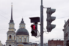 Traffic light and church building Royalty Free Stock Image