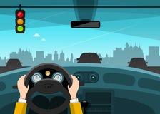 Traffic Light with City on Background. Hands on Steering Wheel. Vector Car Illustration vector illustration