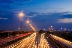 Traffic Light city car. Evening Stock Photo
