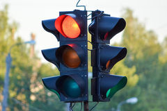 Traffic light. On city street royalty free stock photos