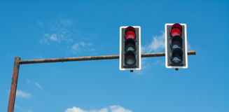 Traffic light on clear sky Stock Image